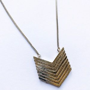 Gold Chevron Long Fashion Necklace
